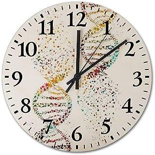 VinMea DNA, Watercolor Art,DNA Double Helix Genetic Decorative Round Wooden Wall Clock 12 Inch