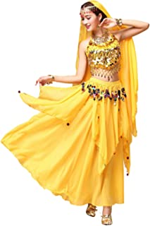 ORIDOOR Women Belly Dance Dress Set Crop Top Padded Bra Top Sparkling Belly Dance Chiffon Skirts with Coins 5-Piece Outfit