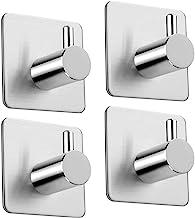 4 Pcs Adhesive Hooks Heavy-duty Hook Towel Hooks, 6.8kg Bathrobe Hooks Hooks Wall Hooks Stainless Steel Bathroom And Kitch...