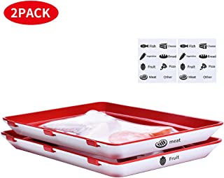Food Storage Containers Food Preservation Tray Reusable Freezer Containers, Superior for Keeping Food Fresh, Meats, Vegetables, Fruit, Cheese,Cold cut, Kitchen Tools (2 pcs Trays and 16 pcs Label)