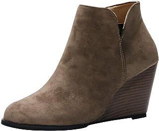 Botines de cuña Mujer Tacones Altos Invierno POLP Botas de Ante Casual Mujer Zapatos de Tacón de 8 cm Cabeza Redonda Antid...