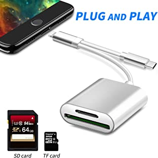 2 in 1 SD Card Camera Reader, Rocketek TF & SD Card Reader Adapter Dual Slot Trail Game Camera Viewer Memory Card Reader Compatible with iPhone/iPad/MacBook/Samsung & More USB C Devices, No App Needed