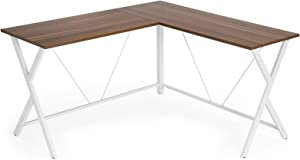 """VASAGLE L-Shaped Computer Desk, Corner Office Writing Desk, Gaming Workstation, Sturdy Metal Frame, Easy Assembly, Tools and Instructions Included 57.1""""x 51.1"""" x 29.9"""" ULWD70WH"""