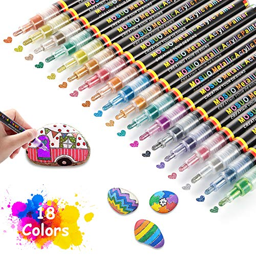 18 Colores Rotuladores De Pintura Acrílica, MOSUO Rotulador