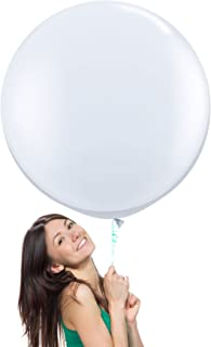 36 Inch (3 ft) Giant Jumbo Latex Balloons (Premium Helium Quality), Pack of 3, Round Shape - White, for Photo Shoot/Birthday/Wedding Party/Festival/Event/Carnival