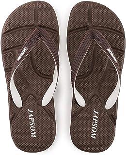 Men's Summer Flip Flops, Comfortable EVA massage Sandals Non-Slip Slippers Toe Post Thong Platform Wedge Beach Shoes,Brown,42