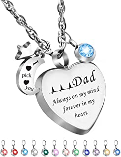 Dletay Cremation Urn Necklace with 12 Birthstones Heart Memorial Keepsakes Pendant Ashes Jewelry-Dad Always on My Mind, Forever in My Heart