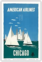 Chicago, Illinois USA - The Windy City, Sailboats, Lake Michigan - American Airlines - Vintage Airline Travel Poster by Edward McKnight-Kauffer c.1948 - Master Art Print - 12in x 18in