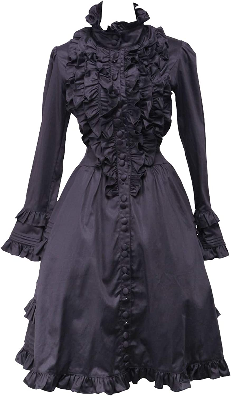 Antaina Black Cotton Ruffle Lace Standup Collar Luxury Gothic Lolita Dress