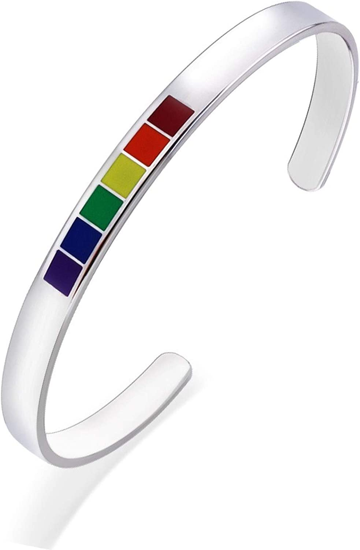 TABANA Lesbian & Gay Pride Bangle, LGBT LGBTQ Bracelet, Stainless Steel Rainbow Pride Bracelet, Gay & Lesibian Pride Stuff, Accessoriesfor Gay & Lesbian Adjustable Size