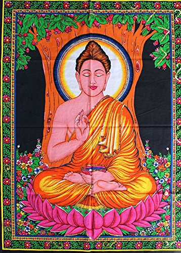 Rastogi Handicrafts Cotton Wall Hanging Indian Goddess Indian Deity 40' X 30' Poster Size (Buddha-G)
