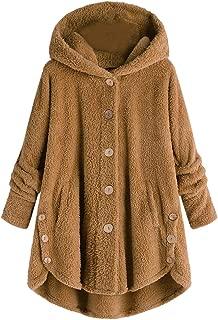 ZEVONDA Womens Fleece Hoodie Jacket - Oversize Solid Color Open Front Collar Fluffy Coat Fleece Cardigan Jacket Autumn Winter Casual Warm Ladies Outerwear