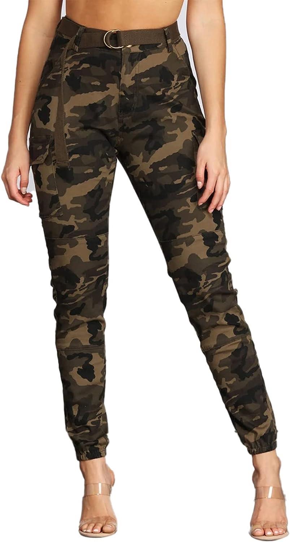 Vakkset Women's Cargo Camo Ranking TOP10 Pants High Ca Fit Waist Trousers Slim Max 47% OFF