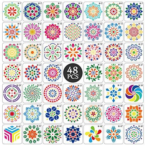 Mandala Schablone Set, 48 Stück Groß wiederverwendbare Laserschnitt Malschablone/Airbrush Vorlage,Mandala Dotting Schablonen für Wand/Stein/Holz Möbel/Malen Vorlagen Kinder.