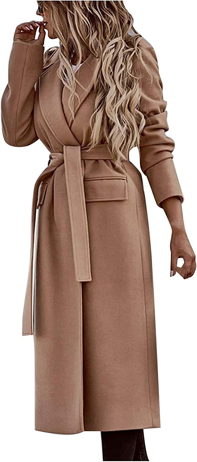 Woman's Long Cardigan Elegant Lapel Jacket Solid Color Long Sleeve Mid-Length Woolen Trench Coat with Belt