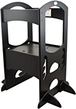 Little Partners' Kids Learning Tower – Child Kitchen Helper Adjustable Height Step Stool, Wooden Frame, Counter Step-Up Active Standing Tower (Ebony)