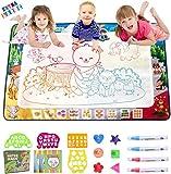 MOONTOY Alfombrilla dibujo para colorear con agua para niños diseño de zoo grande ideal para niños pequeños juguetes educativos sin desorden regalo con 4 plumas mágicas 5 moldes de dibujo 3 folleto