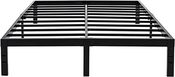 45MinST 14 Inch Reinforced Platform Bed Frame 3500lbs Heavy Duty Easy Assembly Mattress Foundation Steel Slat Noise Free No Box Spring Needed Twin Full Queen King Cal King King
