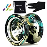 Magic yoyos M002 April Unresponsive Yo-Yo Professional Alloy Yoyo Ball Black Green spalsh Silver with Bag Yo-yos Bag 5 String