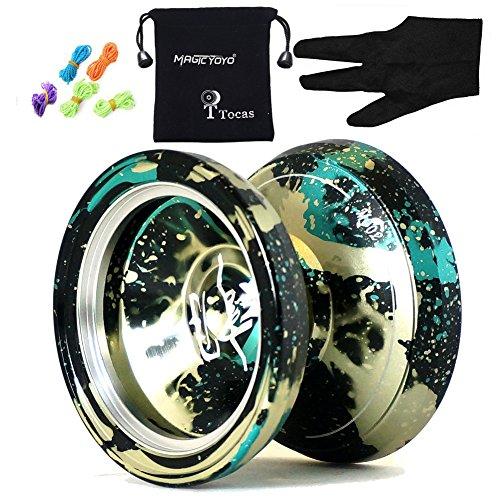 Magic yoyos M002 April Unresponsive Yo-Yo Professional Alloy Yoyo Ball Black Green spalsh Silver with Bag Yo-yos Bag 5 String