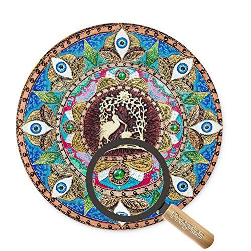 Beautiful Oil Painting Love Bird Nest Watercolor Style Mandala Flower Background Heart Mouse Pad, Non-Slip Rubber Round Mousepad Perfect for Working and Gaming