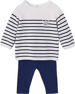 VERTBAUDET Conjunto bebé niña jersey marinero + leggings Azul oscuro a rayas 3M-60CM