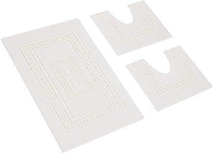 f8e4314780 HomeIt - Set Tappeti Bagno 3 Pezzi in Cotone - Elegante Parure tappetini in  Spugna:
