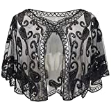 BABEYOND 1920s Shawl Wraps Beaded Evening Cape Bridal Shawl Flapper Cover Up (Black)