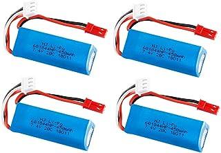 WLtoys K969 K979 K989 K999 P929 P939 RCカーパーツ2s 7.4vバッテリー601844の7.4V 450mAh 20C Lipoバッテリーと7.4v充電器-4枚