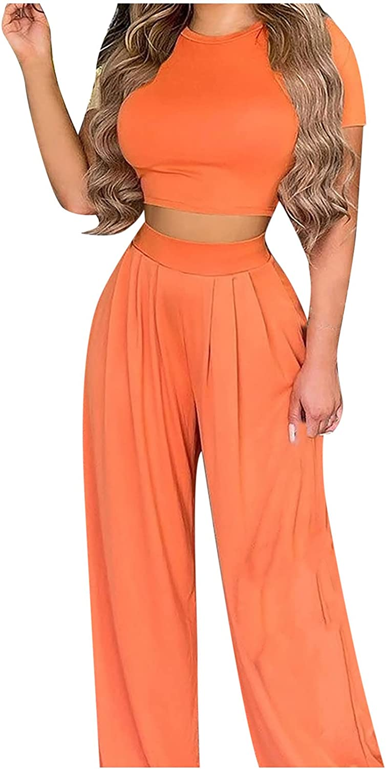 2 Piece Outfits for Women Solid Suit Short Sleeve Top Long Pants Sports Set Sports Jumpsuit Outfits Sweatsuits