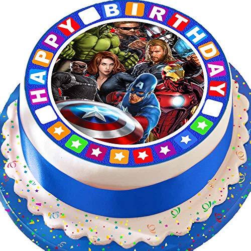 """Vorgeschnittener, essbarer Zuckerguss-Tortenaufleger, 19,1cm rund, Design: Avengers mit """"Happy-Birthday""""-Rand"""