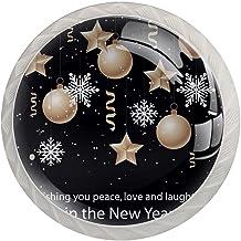 FURINKAZAN Kabinet Knop Trek Handvat Platte Ontwerp Nieuwjaar Achtergrond 4-Pack Keuken Kastdeur