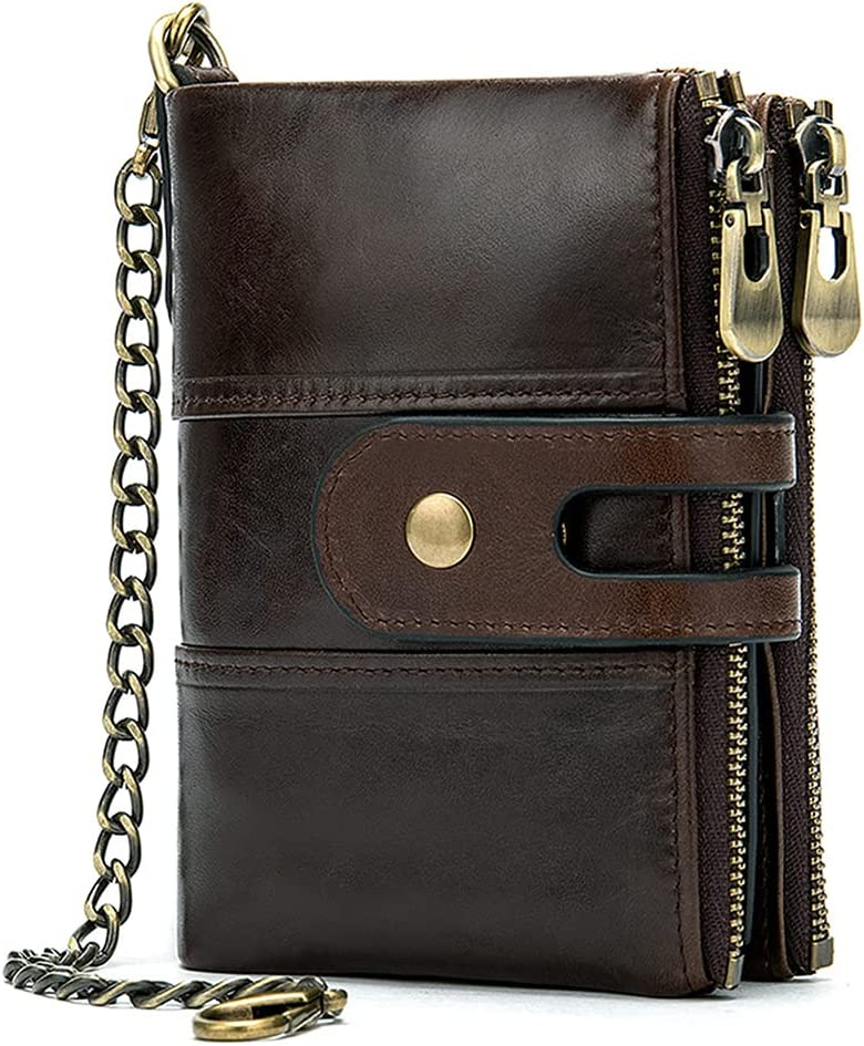 Leather Retro 2 Fold RFID Wallet Men's Coin Purse Key Chain Snap Zipper Pocket Small Bag (Brown)