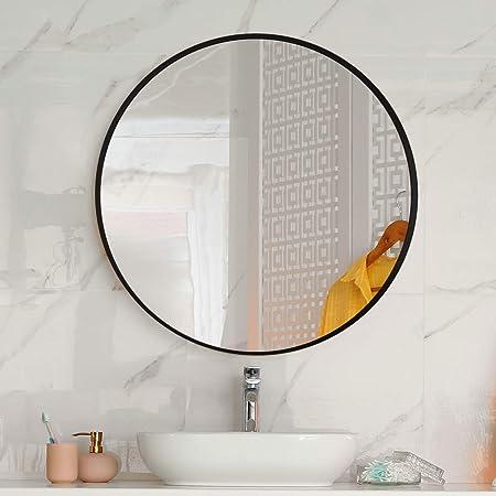 Amazon Com Letushy Aluminium Frame Wall Mirror Bathroom Mirror Circle Mirror Round Mirror Decorative Mirror Vanity Mirror Makeup Mirror Diameter 24 Black Home Kitchen