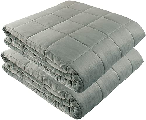 """high quality Weighted Blankets - 60"""" X 80"""" - 20-lbs online wholesale + 60"""" X 80"""" - 25-lbs - No Cover Required - Fits Queen/King Size Bed - Silky Minky Grey - Premium Glass Beads - Calming Stimulation Sensory Relaxation outlet sale"""