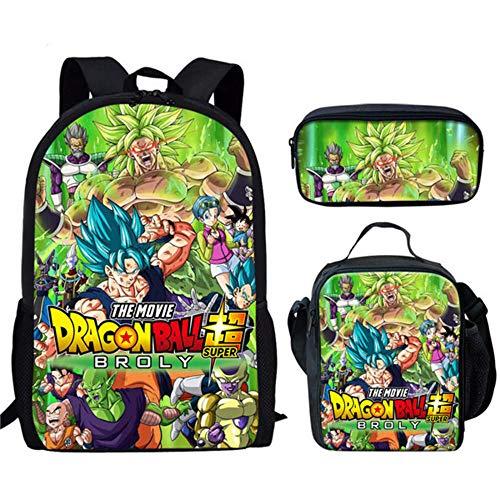 Anime Dragon Ball Z Bolso de Hombro Mochila Escolar Son Goku con Caja de Almuerzo, Juego de bolígrafo, Bolsas primarias para niños