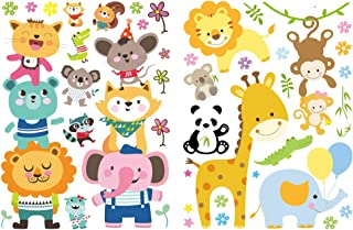 Cuddly Animals Window Decals for Kids, Double-Sided Removable Wall and Window Clings for Toddlers - Cat, Koala, Fox, Raccoon, Squirrel - Perfect for Glass, Walls, Planes, Classrooms, Bedrooms