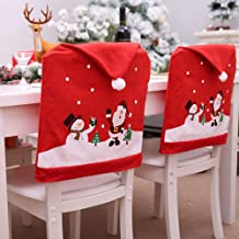 mixcoke Red Christmas Chair Back Covers Decorations, Set of 4 Santa Claus Snowman Hat Xmas Chair Seat Slip Cover for Chris...