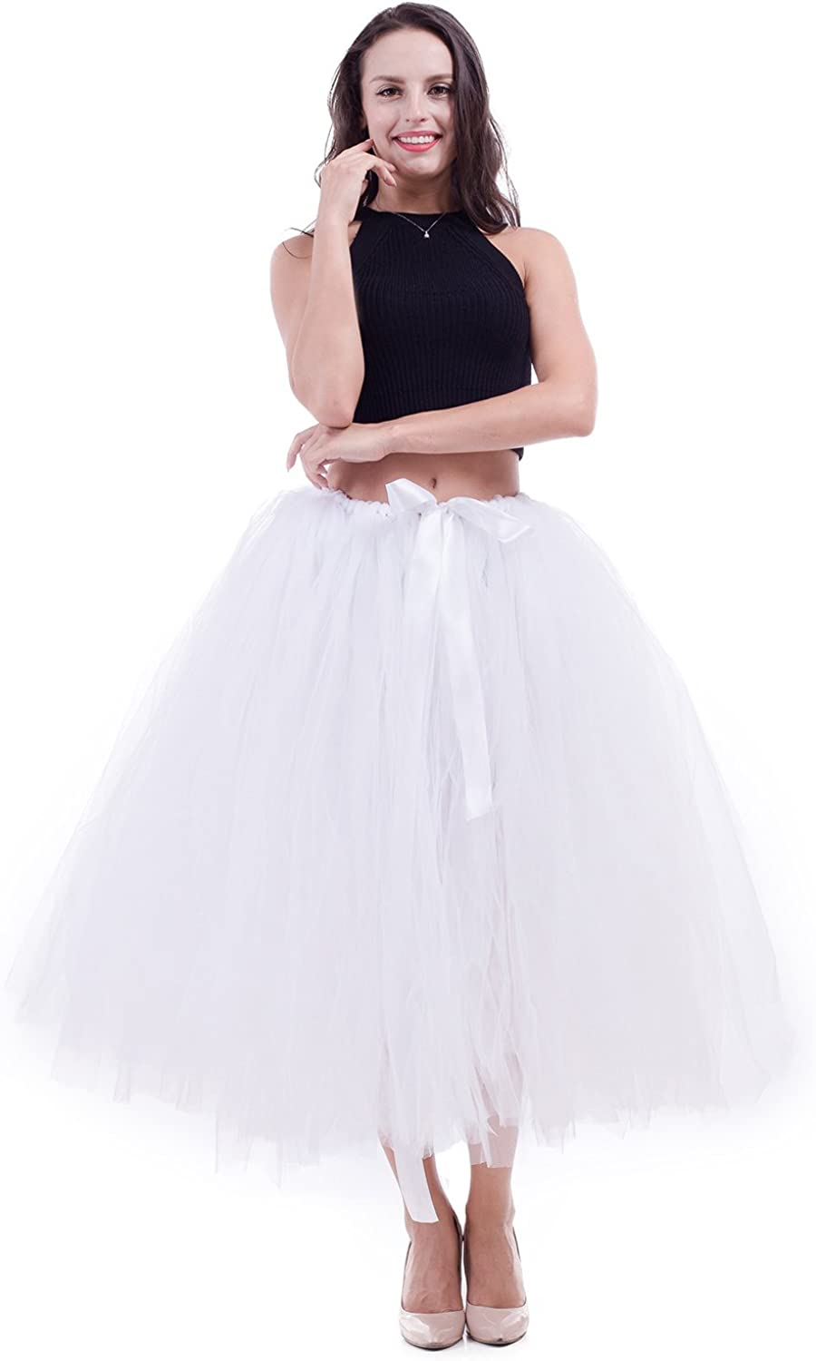 Handmade Adult Tutu Tulle Skirt for Women 31.5 Inch Long Photography Wedding Party Skirts