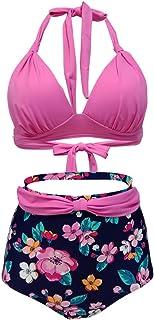 Lau's Bikinis Cuello Halter de Cintura Alta Mujer, Trajes de baño de Dos Piezas Vintage con Estampado Floral