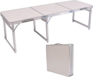 QOZY Aluminum Folding Table 180cm, Height Adjustable Foldable Desk, Portable Utility Picnic Table, for Indoor Outdoor Camp...
