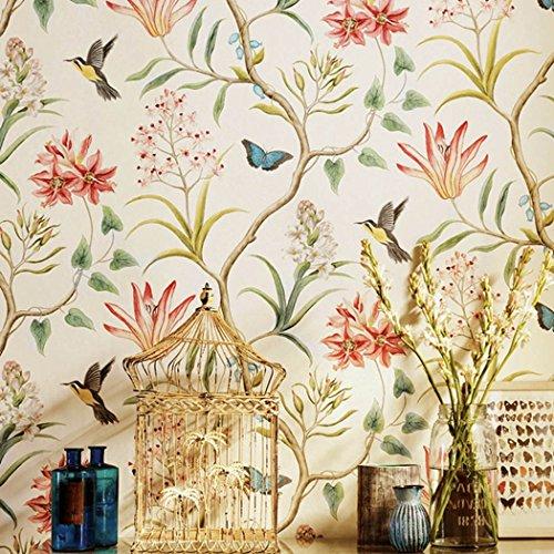 Rollo de papel pintado autoadhesivo con diseño rústico de campo americano, con mariposas, pájaros y flores, ideal para decorar el dormitorio o la sala de estar - Decoración de pared de estilo vintage