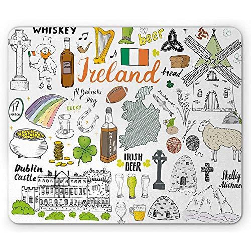 Dublin-Mausunterlage, symbolisches irisches Element-Zusammensetzungs-Whisky-Bier-Schloss-Brot St Patrick Tagesmousepad, Mehrfarben