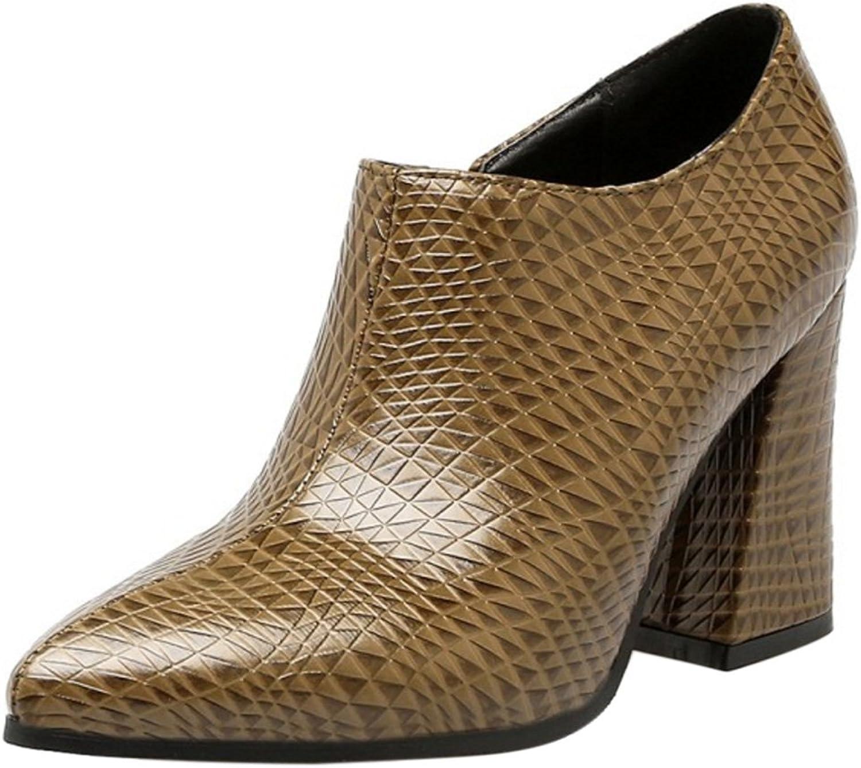 FANIMILA Women Fashion Pointed Toe Block Heel Low Top Boots