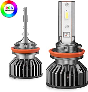 H11 H8 H9 LED Headlight Bulbs&RGB Headlights Daytime Running Light Switch Controlled Multicolour All-in-One Conversion Kit Color:6000K,White,Red,Green,Blue (H11/H8/H9)