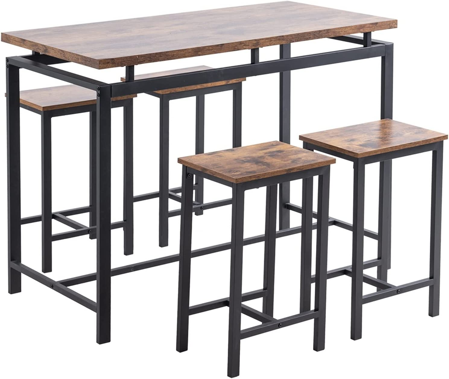 ZEHYANG Hick Wood Black Wooden Table Max 71% OFF And Set Stools 4 Dining Selling