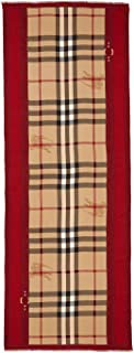 New Burberry Women's Haymarket Color Border Scarf in Ruby Red Check