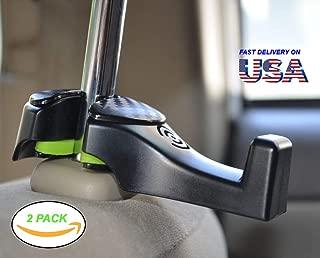Car Headrest Hook, Car Hook - Hang Purse or Grocery Bags - Car Hanger Hook, Car Headrest Holder with Lock - Black