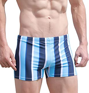 EASEJUICY Mens Swim Trunks Striped Swimwear Square Leg Swimming Boxer Birefs Swimsuit Drawstring Low Rise with Liner
