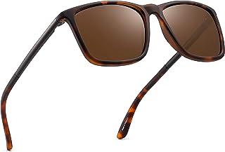 Polarized Driving Sunglasses Retro Square UV protection Classic Sun Glasses Men (Tortoise/Polarized Brown)
